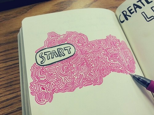 Line Art Journal : Wreck this journal create a nonstop line art