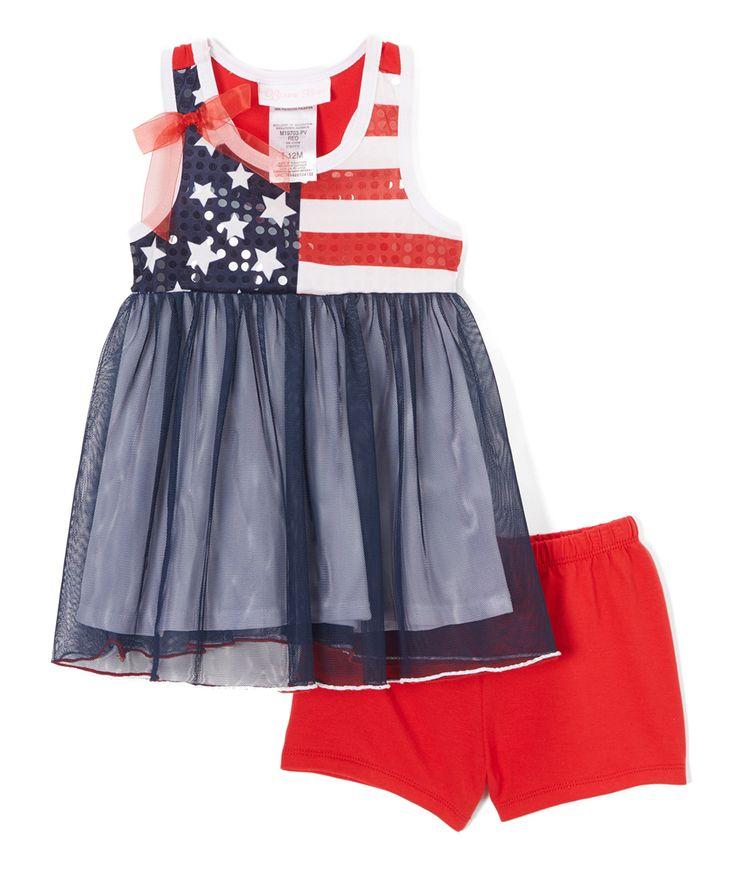 Red & Navy Flag Racerback Tunic & Shorts - Infant