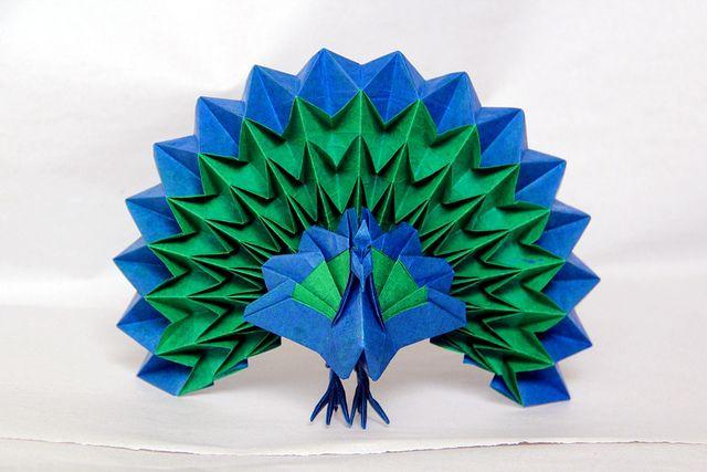 оригами зеленый павлин фото схема дольше