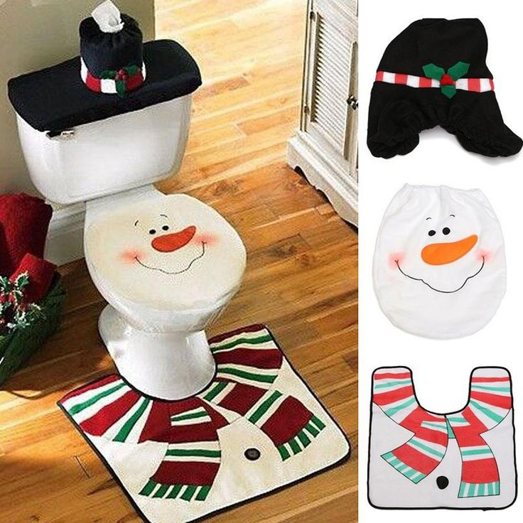 New XMAS Snowman Toilet Seat Cover +Rug Bathroom Mat Set Padded Christmas Toilet Seat Covers 3pcs Christmas Decorations for Home