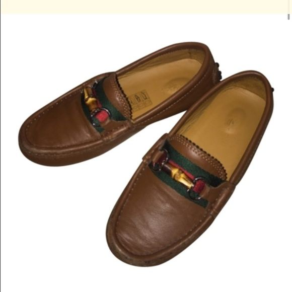 Authentic Gucci leather drivers boys Sz 11 Authentic Gucci little boys brown leather bamboo driver shoes size Gucci 28 US 11 in good condition with some minor scuffs and in the front end and minor use Gucci Shoes