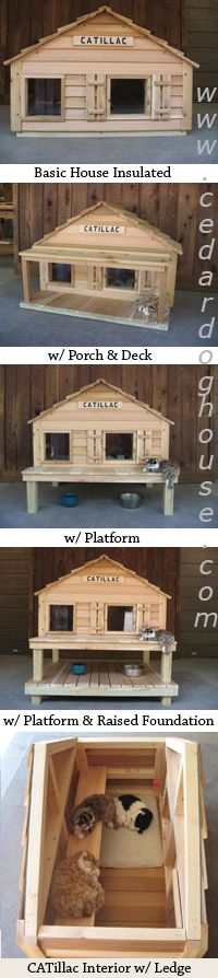 Insulated cat house with heated cat house option.                                                                                                                                                                                 More