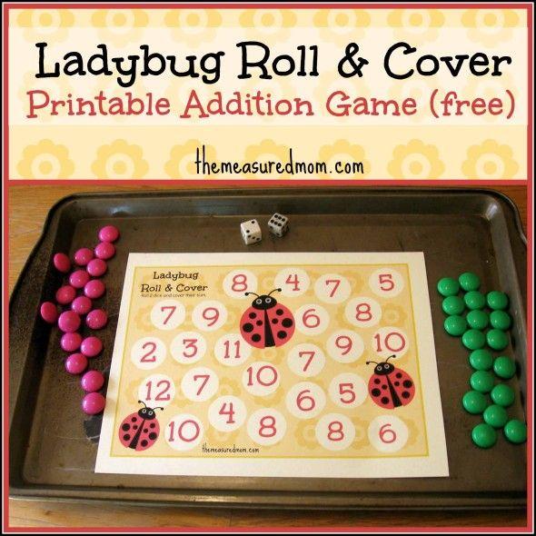 Printable Addition Game: Ladybug Roll & Cover