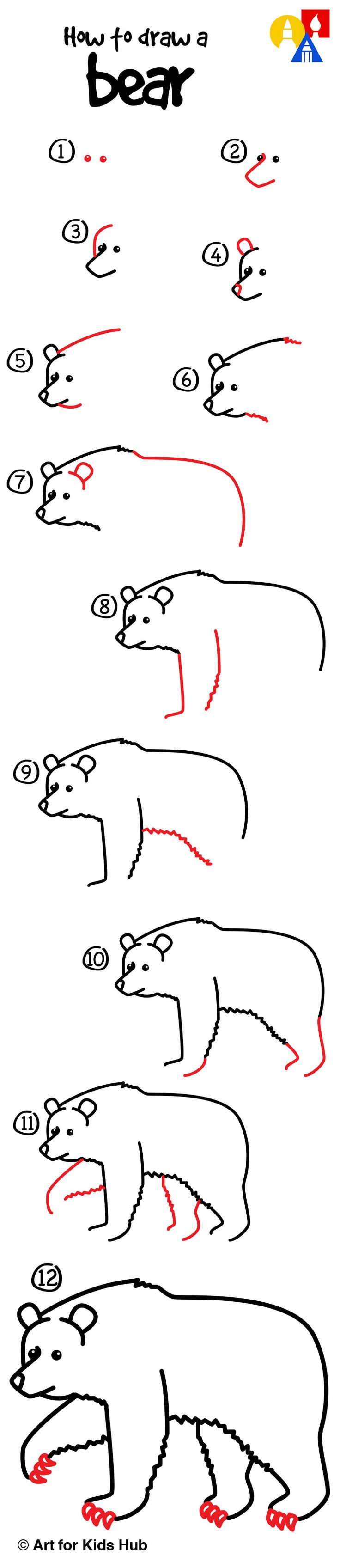 62 best afkh step by steps images on pinterest easy drawings easy step by step instructions on how to draw a bear altavistaventures Image collections