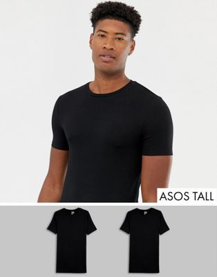 e8e158f7 ASOS DESIGN Tall organic muscle fit crew neck t-shirt with stretch 2 pack  multipack