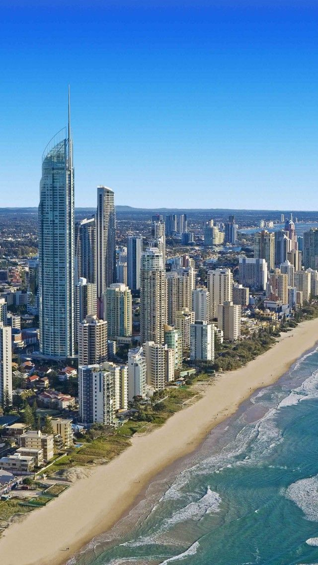 Beach Cityscapes Sea Australia Gold Coast  iPhone 5 wallpapers, backgrounds, 640 x 1136