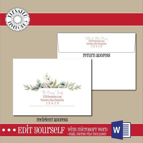 Editable Christmas Envelope Templatea7 Envelope Envelope Etsy Envelope Template Printed Envelopes Envelope