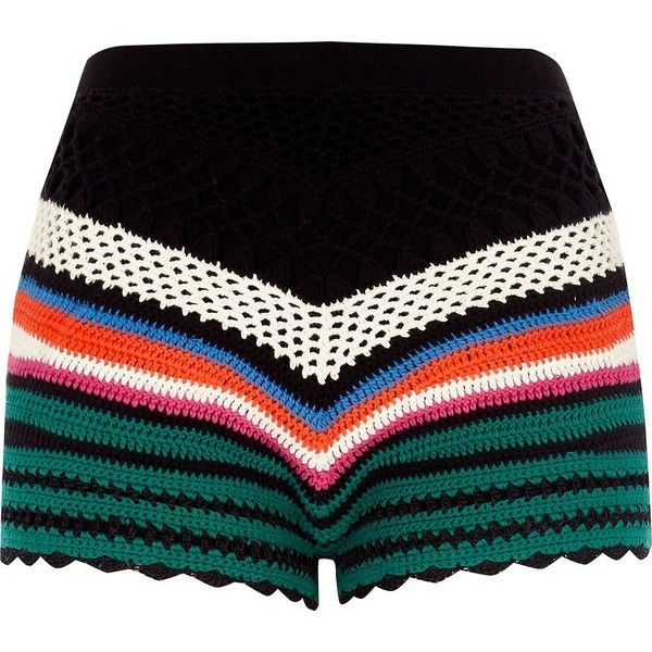 River Island Black multi coloured crochet shorts ($90) ❤ liked on Polyvore featuring shorts, black, casual shorts, women, crochet shorts, crochet knit shorts, tall shorts, macrame shorts and colorful shorts