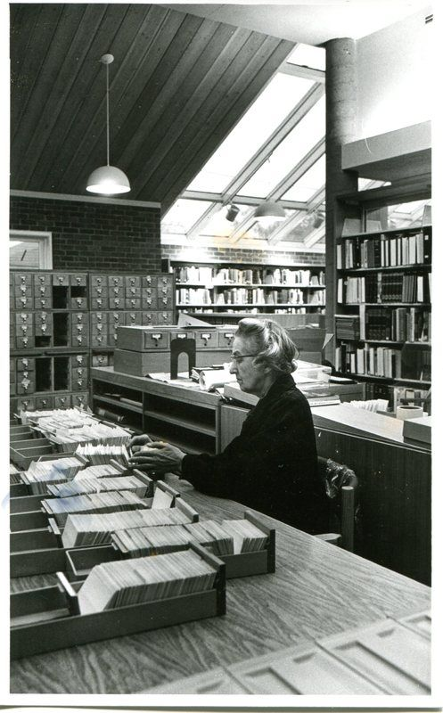 "The Guilford Free Library (CT) is digitizing their historic collections. ""Library Director Edith B. Nettleton checking catalog cards at the Guilford Free Library in 1977.,"" Guilford Free Library Archives, accessed April 2, 2014, http://archives.guilfordfreelibrary.org/items/show/361."