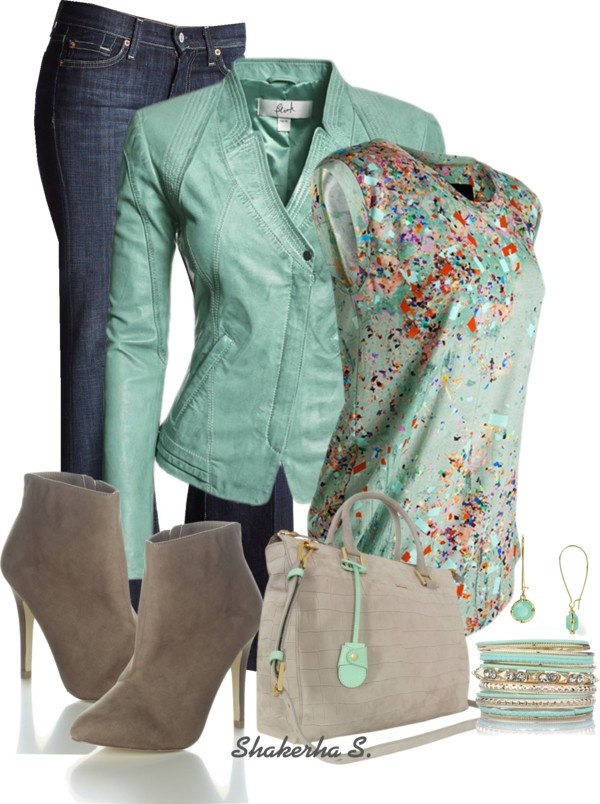 """""""Mint & Grey"""" by shakerhaallen on Polyvore - wow, love this!"""