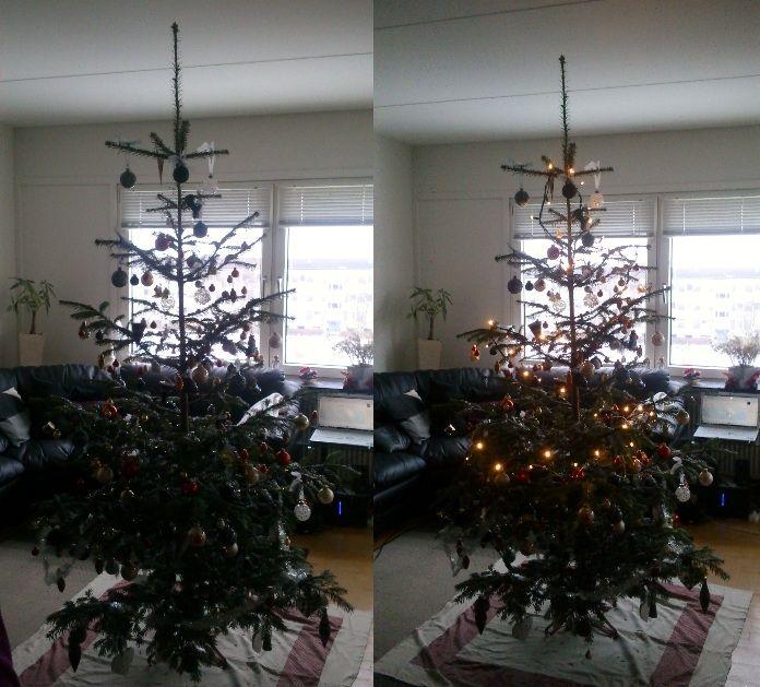 Christmas tree in the Living room. Christmas 2012, Denmark.
