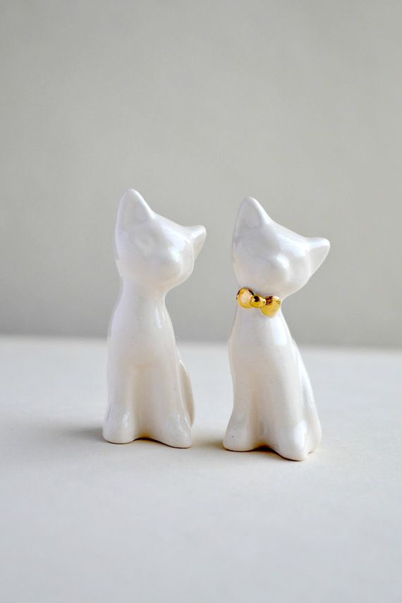 Cat cake topper wedding cake topper gold by JasminBlancBoutique, $60.00