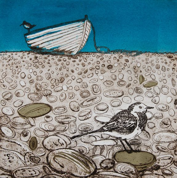 Louise Worthy 'Beachcombing' Drypoint with monoprint