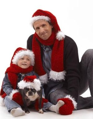 Santa Claus Hat~  free knitting pattern {from Lion Brand} for Santa hats & scarves for adults, children, & dogs {or other pets}