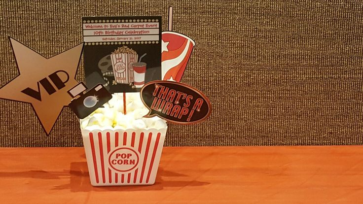 Popcorn bucket centerpieces