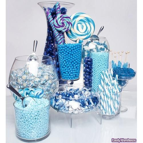 Blue candy buffet example- cute idea with the margarita glass. Could we use martini glasses?