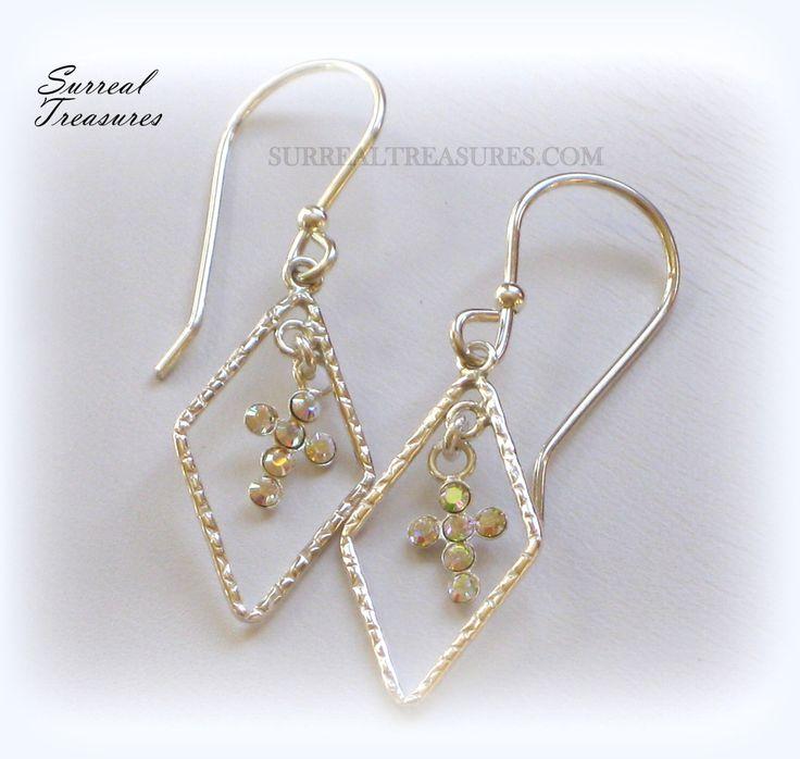 Crystal Cross Earrings - Sterling silver, Textured Diamond drops with Sterling silver Crystal Crosses   ECCE003215 by SurrealTreasures on Etsy https://www.etsy.com/listing/223420189/crystal-cross-earrings-sterling-silver