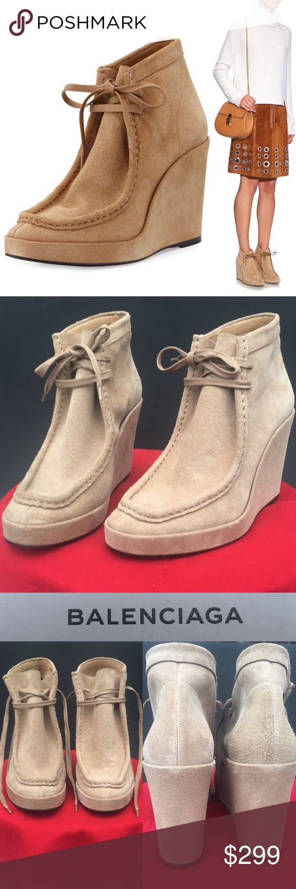 "BALENCIAGA Camel Chukka Suede Lace Wedge Booties ❤ ❤BALENCIAGA❤ Sold Out Camel Chukka Suede Lace-Front Wedge Boot NIB (never worn) $965 MSRP (I paid $799 during Neimans sale) Size 40, which Poshmark equates to US10. Covered beige wedge heel, round moc toe, self-tie front, tonal topstitching, smooth outsole, leather lining/soles, made in Italy🇮🇹 Pic shows 799 price written on inside of 1 bootie in marker pen. Heel H approx: 4 1/14"", Platform wedge H: 3/4"". NIB; includes orig. box+dust bag…"