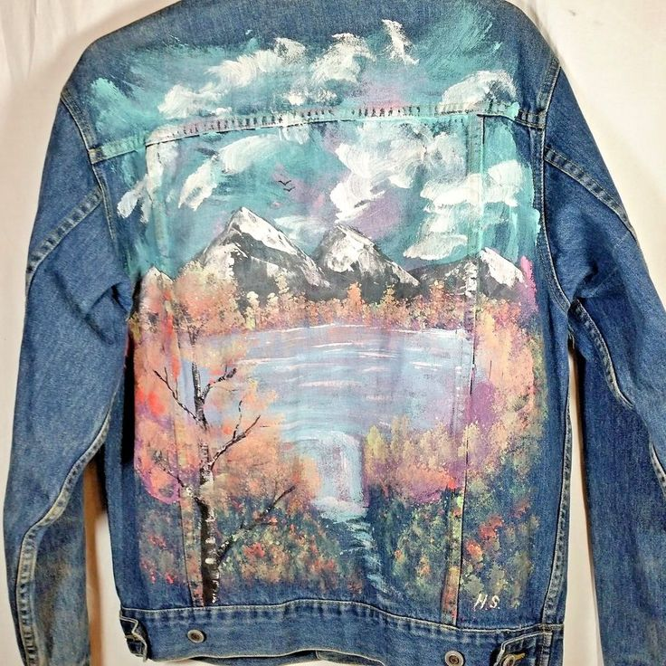 "Scene - mountains & lake. Hand Painted Denim Jean Jacket. Jacket is faded and shows wear in some areas. Approximate length 25"". Left back area missing button - photo #9. Right sleeve area has a stitch flaw - photo #10. 