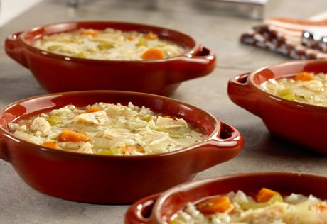 Delicious, homemade soups like this chicken, vegetable and rice recipe are surprisingly quick and easy when you use convenient products like flavorful chicken broth and tender canned chicken.