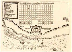 Plano del fuerte de la ciudad de Buenos Aires ubicado donde hoy se encuentra la Casa de Gobierno, hacia abajo la costa del Río de la Plata y hacia arriba la diminuta primera traza de la ciudad, plano realizado por Joseph Bermúdez añó 1708