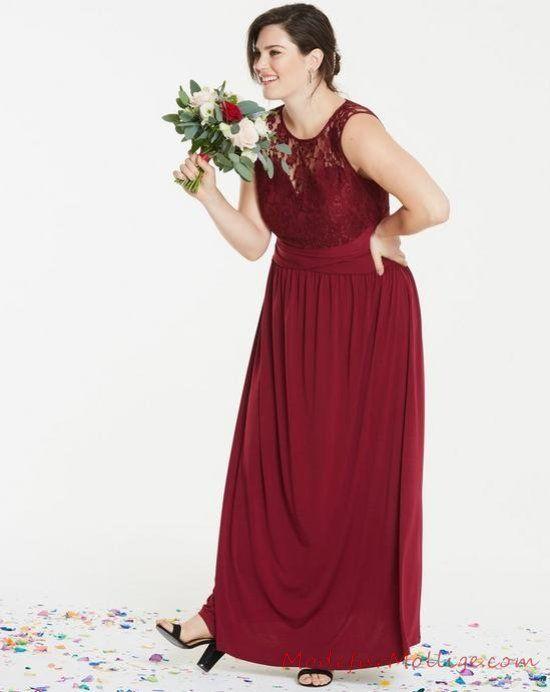 Langes abendkleid aus spitze joch – Perfekt großen Größen Kleider für Hochze
