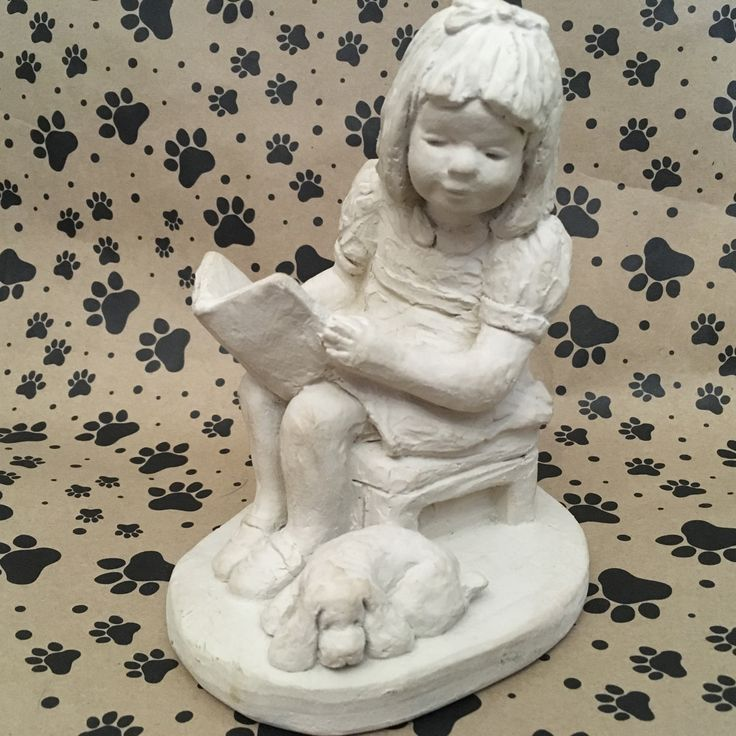 Dee Crowley Bright Eyes Collection for Austin Sculpture 1987 girl reading book to dog by OneTenMollyLane on Etsy