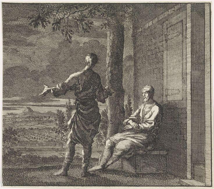 Jan Luyken | Embleem: avond, Jan Luyken, Christoph Weigel, 1695 - 1705 | Voor een huis zit een man op een bank in de schemering. Hij is in conversatie met een andere man die voor hem staat.