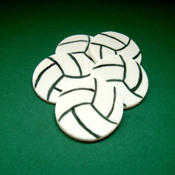 Volleyball Fondant Cupcake - Cookie toppers, Sport Theme Birthday Boy Party, Volleyball Party, 12 pcs - pinned by pin4etsy.com