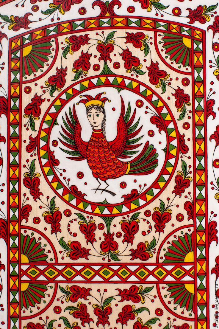 Купить Разделочная доска с северодвинской росписью. - комбинированный, разделочная доска, северная роспись, пермогорская роспись
