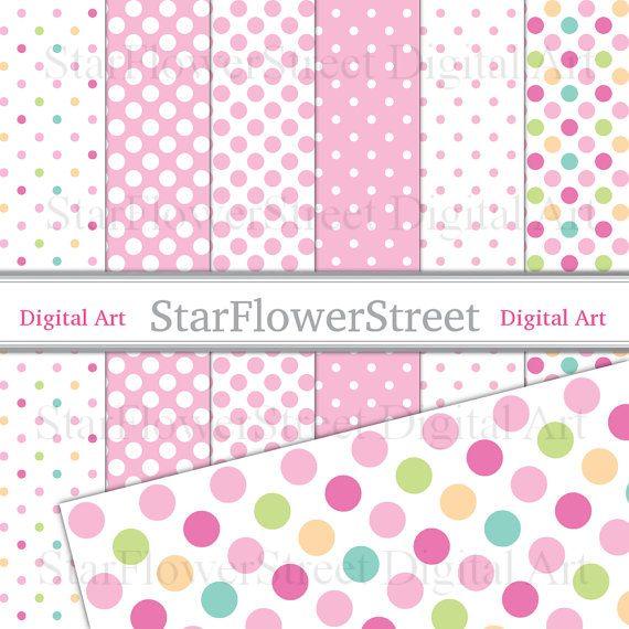 101 best Polka Dot Scrapbook Paper images on Pinterest Digital - dot paper template