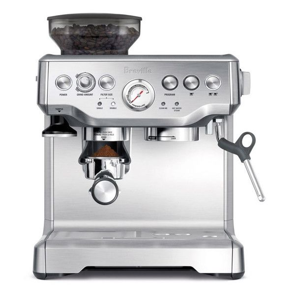 Treat yourself to your favorite hot drink every morning with thisbeautiful and functional silver stainless steel espresso machinefrom Breville. This machine has a generous 60-ounce capacity idealfor s