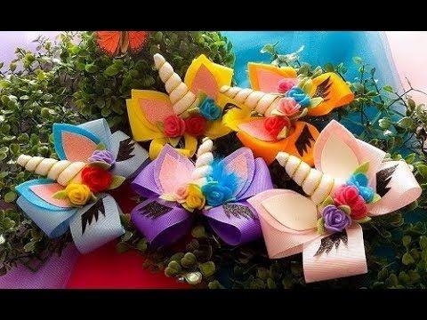 LISTA DE MATERIAIS: - Fita de gorgorão de 4cm ou numero 9 - Fita de gorgorão de 1cm - Feltro branco ( para chifre) - Feltro colorido para as flores e verde p...