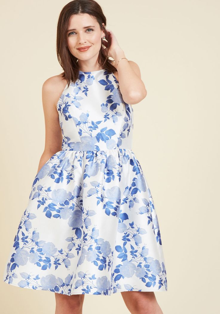 Full-On Graceful Fit and Flare Dress by Wendy Bird - Blue, Floral, Print, Special Occasion, Daytime Party, Wedding Guest, Fit & Flare, Spring, Woven, Best, Exclusives, Halter, Prom, Party, Cocktail, Graduation, Vintage Inspired, 50s, A-line, Halter, Summer, Knee Length, Knee, White, Pockets  http://shareasale.com/m-pr.cfm?merchantid=43745&userid=1422417&productid=678298185&afftrack=