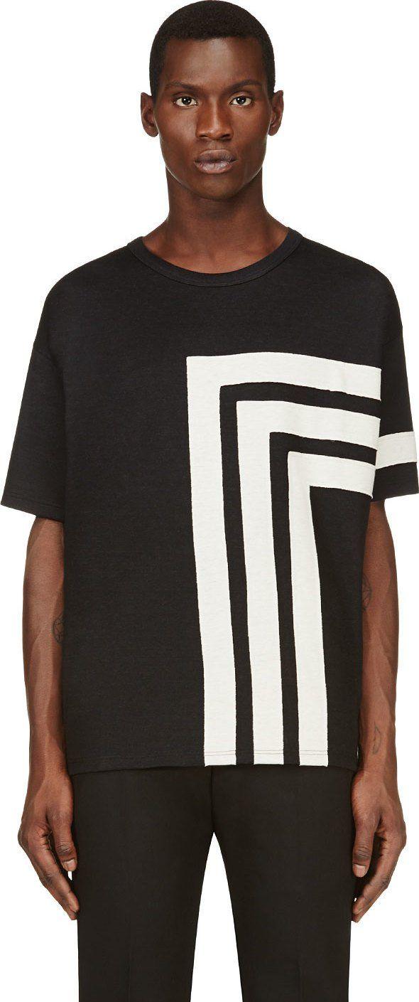 Alexander McQueen - Black & Off-White Linear T-shirt | SSENSE