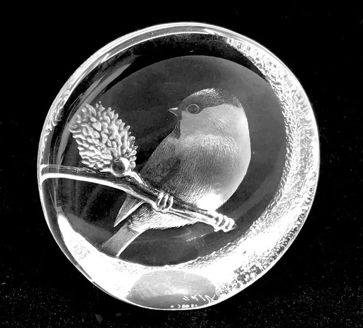 Mats Jonasson #Paperweight Lead Crystal Marsh Tit Bird #Sweden Label Signed 3.5in #MatsJonasson Traditional
