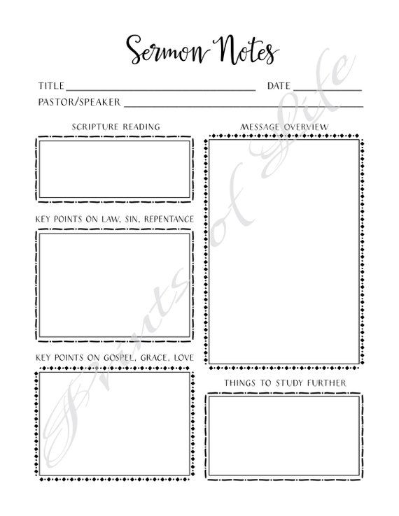Sermon Notes  PDF printable  Instant download  Worship Notes