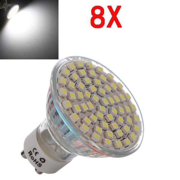 8X GU10 4.5W White 60 SMD 3528 LED Spot Light Lamp Bulb AC 220V