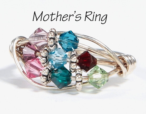 Grandmother / Mothers Ring 8 Birthstones: Sterling Silver ...