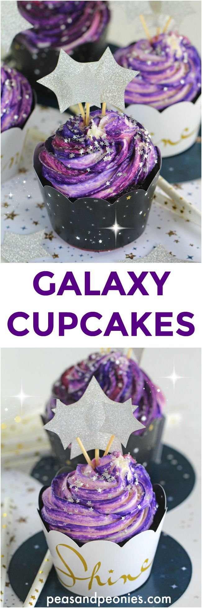 "Galaxy Cupcakes are made easy with the ""no colored buttercream"" trick. No more mess and fuss, these Galaxy Cupcakes are so easy to make! (Baking Bread With Kids)"