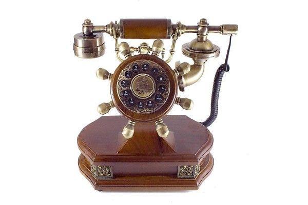 Nostalgie Telefon Antik Look mit Holz und Messing