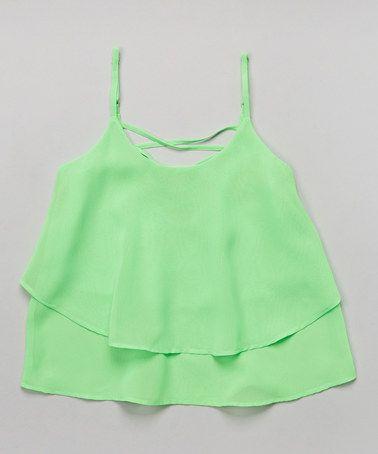 Look at this #zulilyfind! Lime Ruffle Crop Top by Apollo #zulilyfinds