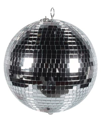 Zilveren discobol. De discobol heeft een diameter van 30 cm.