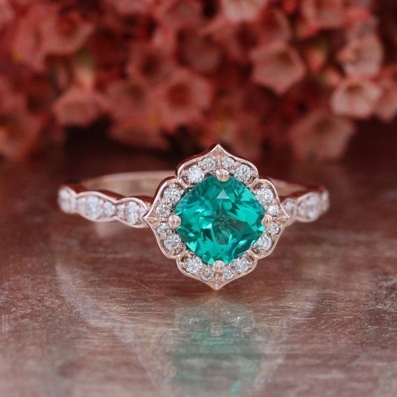 Vintage Floral Emerald Engagement Ring 14k Rose Gold Scalloped Diamond Wedding Band 6x6 Conflict Free Cultured Green Emerald May Birthstone etsy