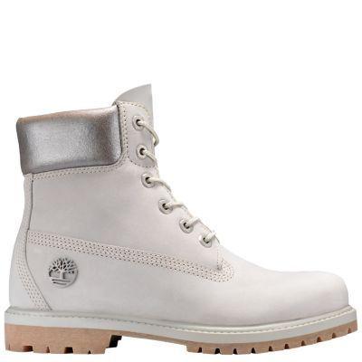 Timberland Women's 6-Inch Premium Metallic Collar Waterproof Boots Light Grey Nubuck