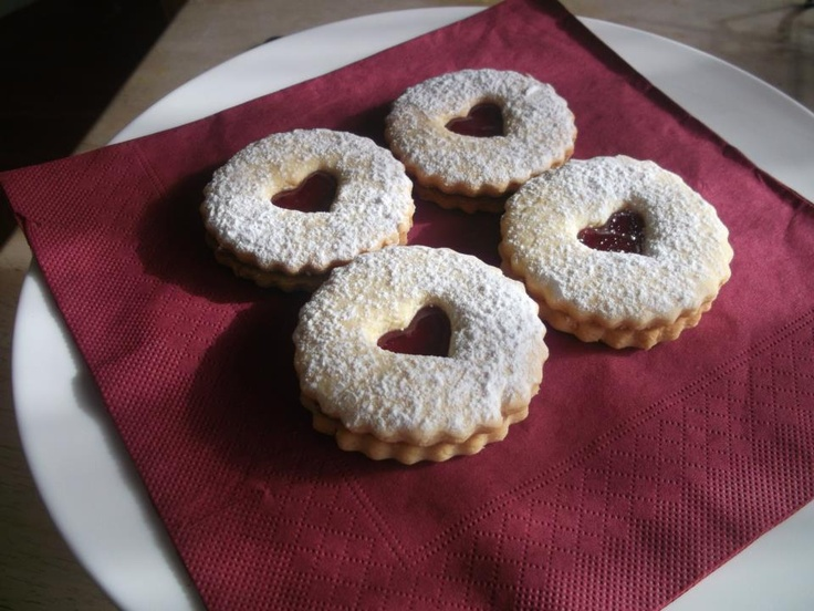 homemade strewsberry biscuits  - vanilla biscuit with a hint of lemon zest filled with plum jam