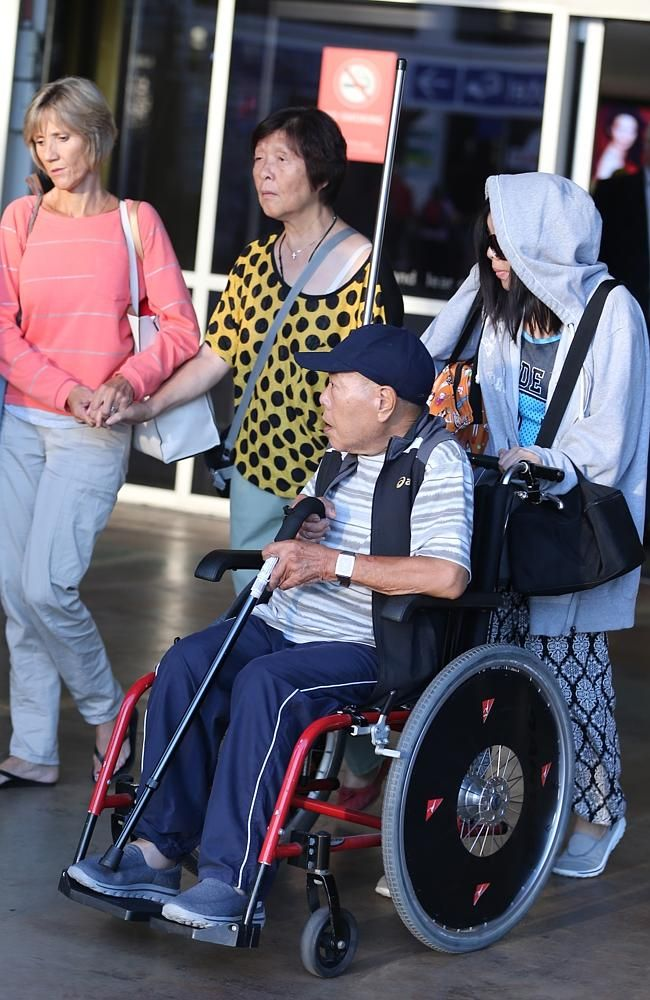 Frail ... the parents of Bali Nine ringleader Andrew Chan, Ken an Helen Chan, arrive in S