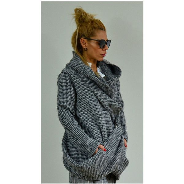 On Maxi Winter Asymmetric Cardigan Grey Extravagant hoodie/irregular... ($98) ❤ liked on Polyvore featuring tops, cardigans, black, sweaters, women's clothing, maxi cardigans, plus size maxi cardigan, plus size summer tops, plus size cardigans and plus size summer cardigans