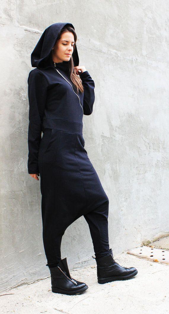 Zwarte Maxi Jumpsuit/Drop Kruis Jumpsuit/Hooded lange door Fraktura