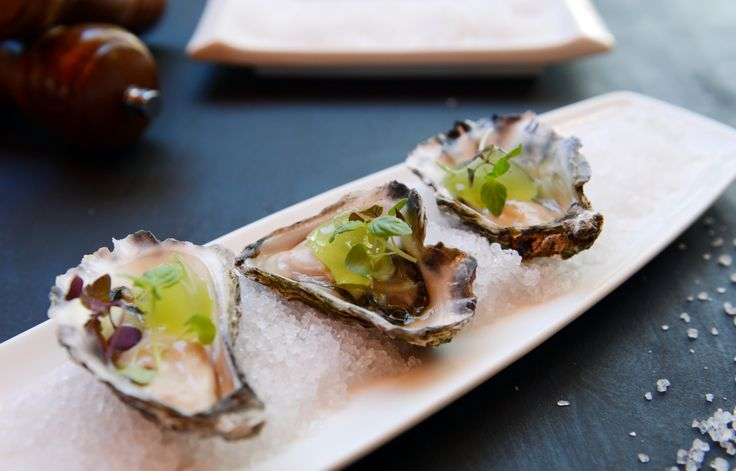 Freshly shucked oysters with a apple & lime jelly